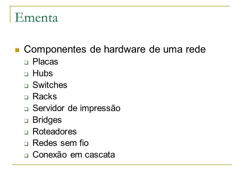 Ementa Componentes de hardware de uma rede Placas Hubs Switches Racks Servidor de impressão Bridges Roteadores Redes sem fio Conexão em cascata