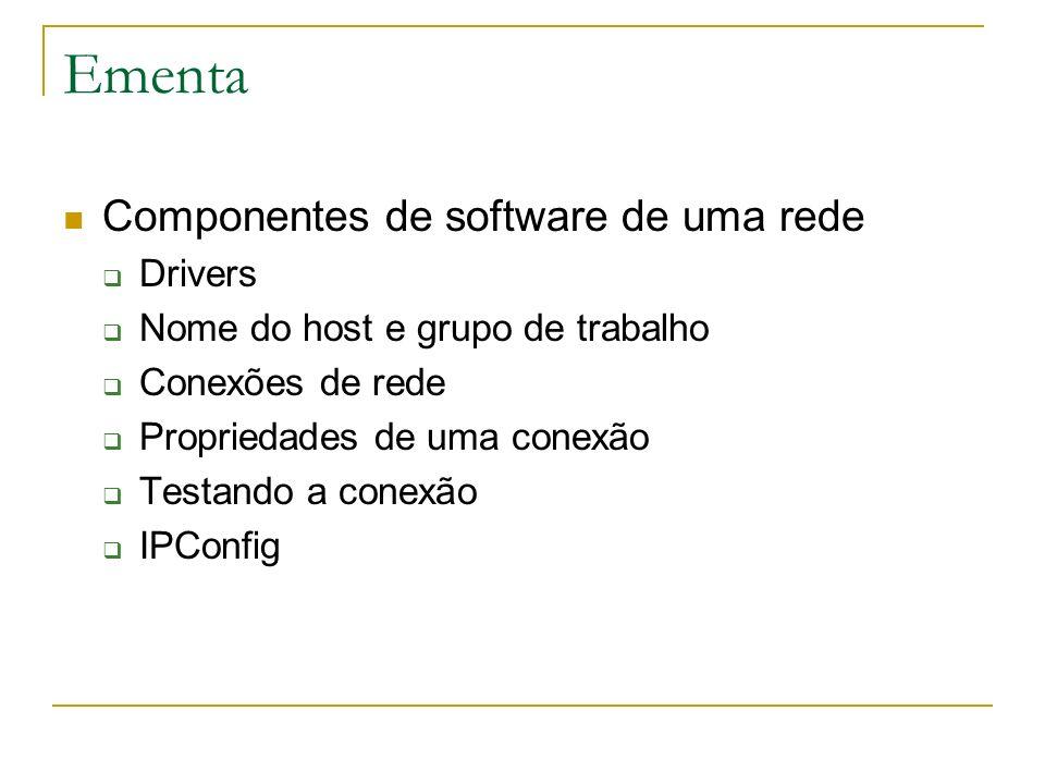 Ementa Componentes de software de uma rede Drivers Nome do host e grupo de trabalho Conexões de rede Propriedades de uma conexão Testando a conexão IP