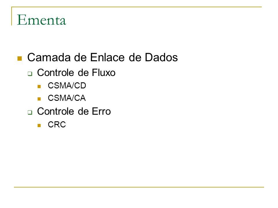 Ementa Camada de Enlace de Dados Controle de Fluxo CSMA/CD CSMA/CA Controle de Erro CRC