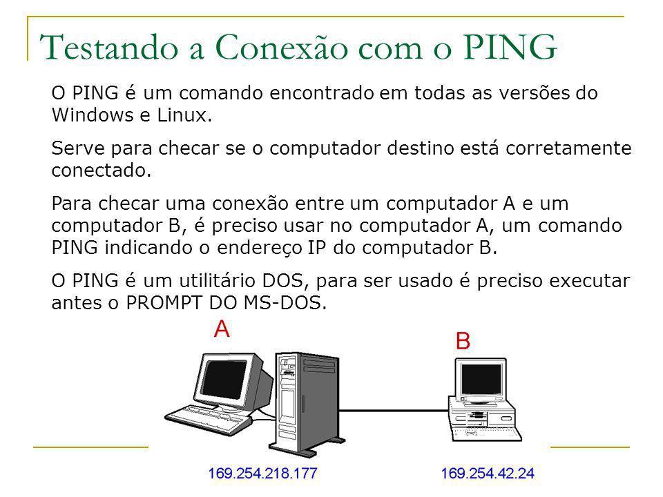 Testando a Conexão com o PING O PING é um comando encontrado em todas as versões do Windows e Linux. Serve para checar se o computador destino está co