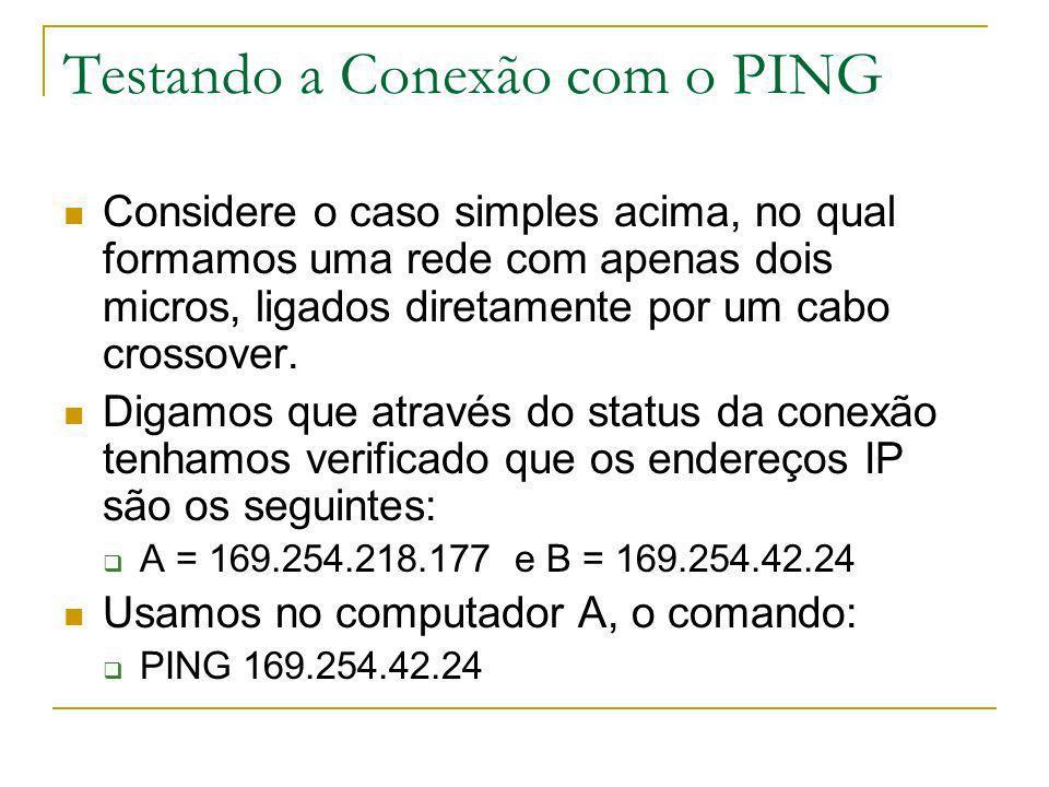 Testando a Conexão com o PING Considere o caso simples acima, no qual formamos uma rede com apenas dois micros, ligados diretamente por um cabo crosso