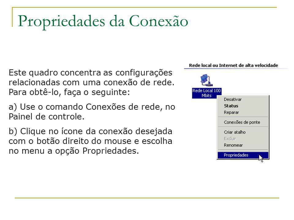 Propriedades da Conexão Este quadro concentra as configurações relacionadas com uma conexão de rede. Para obtê-lo, faça o seguinte: a) Use o comando C