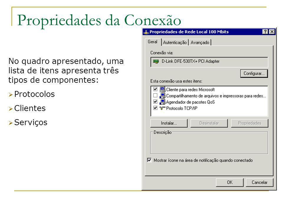 Propriedades da Conexão No quadro apresentado, uma lista de itens apresenta três tipos de componentes: Protocolos Clientes Serviços