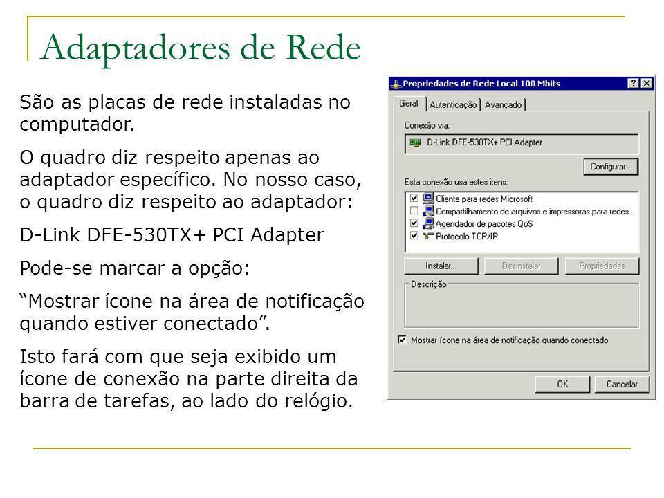 Adaptadores de Rede São as placas de rede instaladas no computador. O quadro diz respeito apenas ao adaptador específico. No nosso caso, o quadro diz