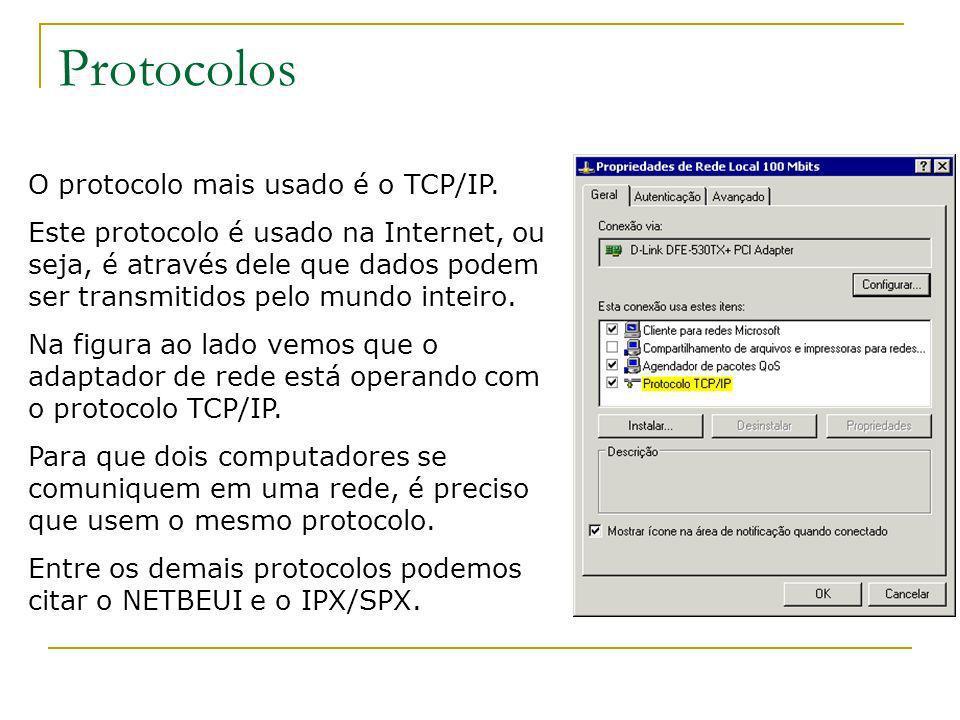 Protocolos O protocolo mais usado é o TCP/IP. Este protocolo é usado na Internet, ou seja, é através dele que dados podem ser transmitidos pelo mundo