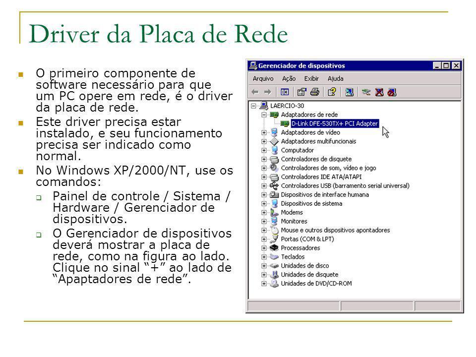 Driver da Placa de Rede O primeiro componente de software necessário para que um PC opere em rede, é o driver da placa de rede. Este driver precisa es