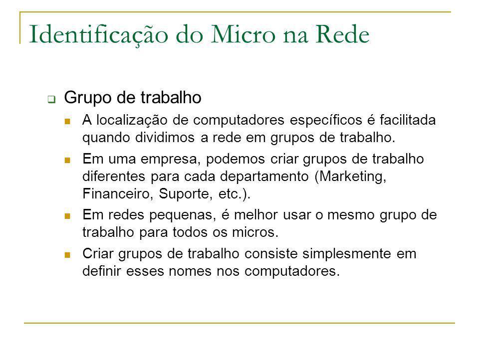 Identificação do Micro na Rede Grupo de trabalho A localização de computadores específicos é facilitada quando dividimos a rede em grupos de trabalho.