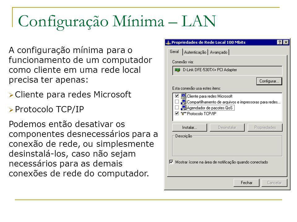 Configuração Mínima – LAN A configuração mínima para o funcionamento de um computador como cliente em uma rede local precisa ter apenas: Cliente para