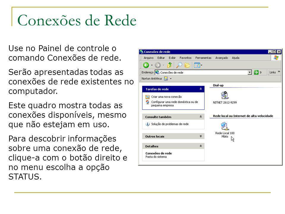 Conexões de Rede Use no Painel de controle o comando Conexões de rede. Serão apresentadas todas as conexões de rede existentes no computador. Este qua