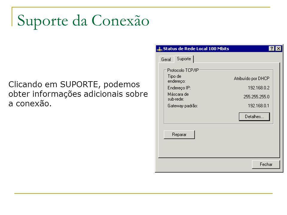 Suporte da Conexão Clicando em SUPORTE, podemos obter informações adicionais sobre a conexão.