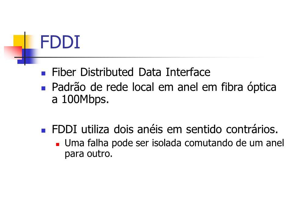 FDDI Fiber Distributed Data Interface Padrão de rede local em anel em fibra óptica a 100Mbps. FDDI utiliza dois anéis em sentido contrários. Uma falha