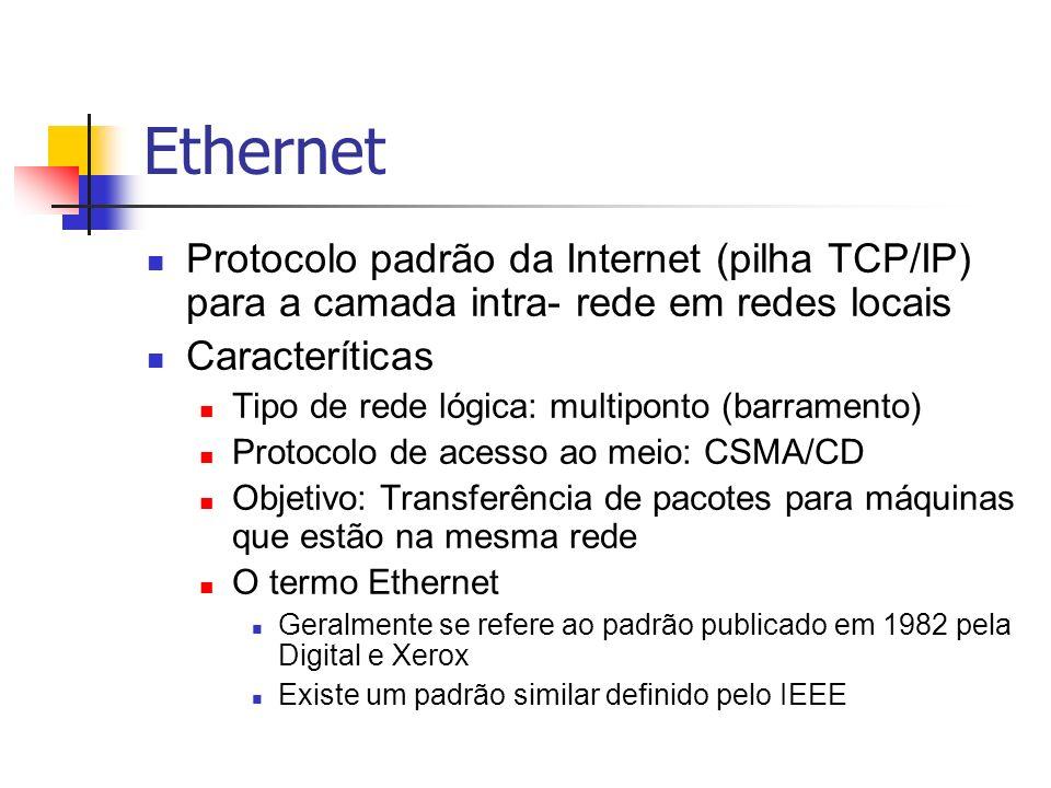 Ethernet Protocolo padrão da Internet (pilha TCP/IP) para a camada intra- rede em redes locais Caracteríticas Tipo de rede lógica: multiponto (barrame