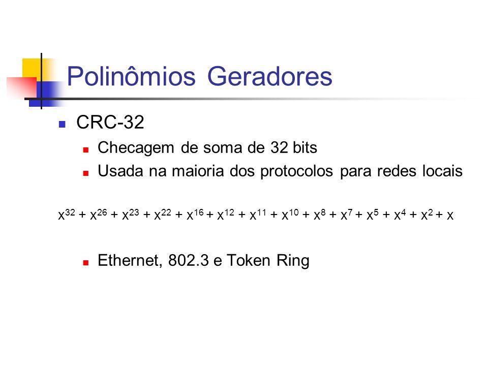 Polinômios Geradores CRC-32 Checagem de soma de 32 bits Usada na maioria dos protocolos para redes locais x 32 + x 26 + x 23 + x 22 + x 16 + x 12 + x