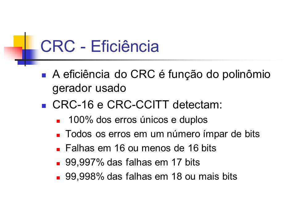 CRC - Eficiência A eficiência do CRC é função do polinômio gerador usado CRC-16 e CRC-CCITT detectam: 100% dos erros únicos e duplos Todos os erros em