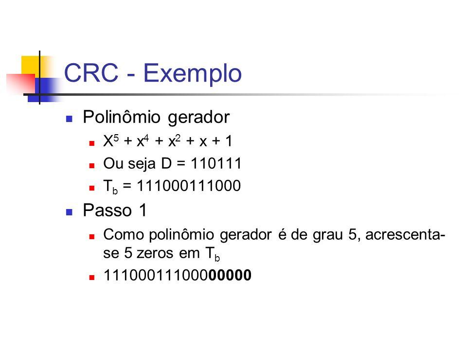 CRC - Exemplo Polinômio gerador X 5 + x 4 + x 2 + x + 1 Ou seja D = 110111 T b = 111000111000 Passo 1 Como polinômio gerador é de grau 5, acrescenta-