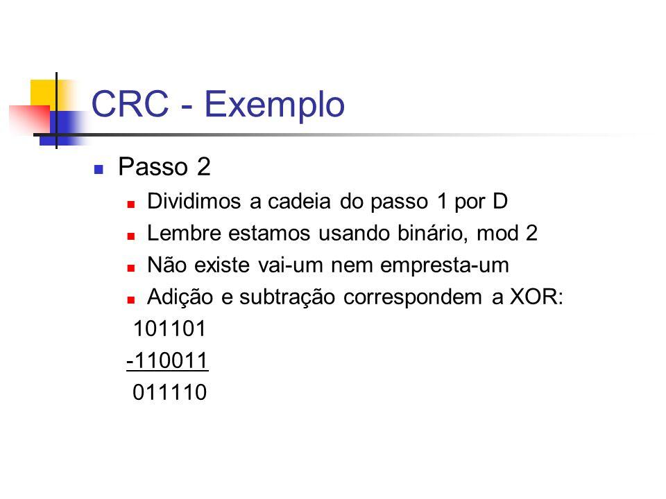 CRC - Exemplo Passo 2 Dividimos a cadeia do passo 1 por D Lembre estamos usando binário, mod 2 Não existe vai-um nem empresta-um Adição e subtração co