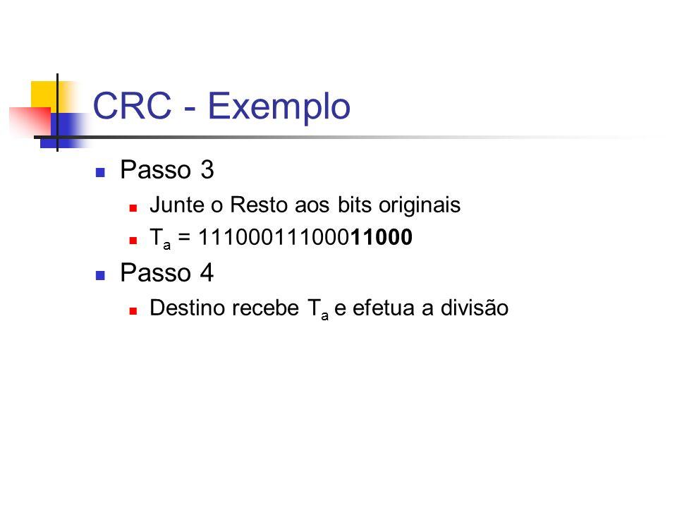 CRC - Exemplo Passo 3 Junte o Resto aos bits originais T a = 11100011100011000 Passo 4 Destino recebe T a e efetua a divisão