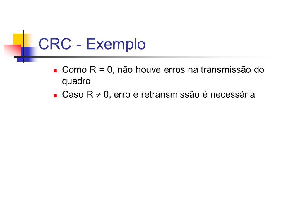CRC - Exemplo Como R = 0, não houve erros na transmissão do quadro Caso R 0, erro e retransmissão é necessária
