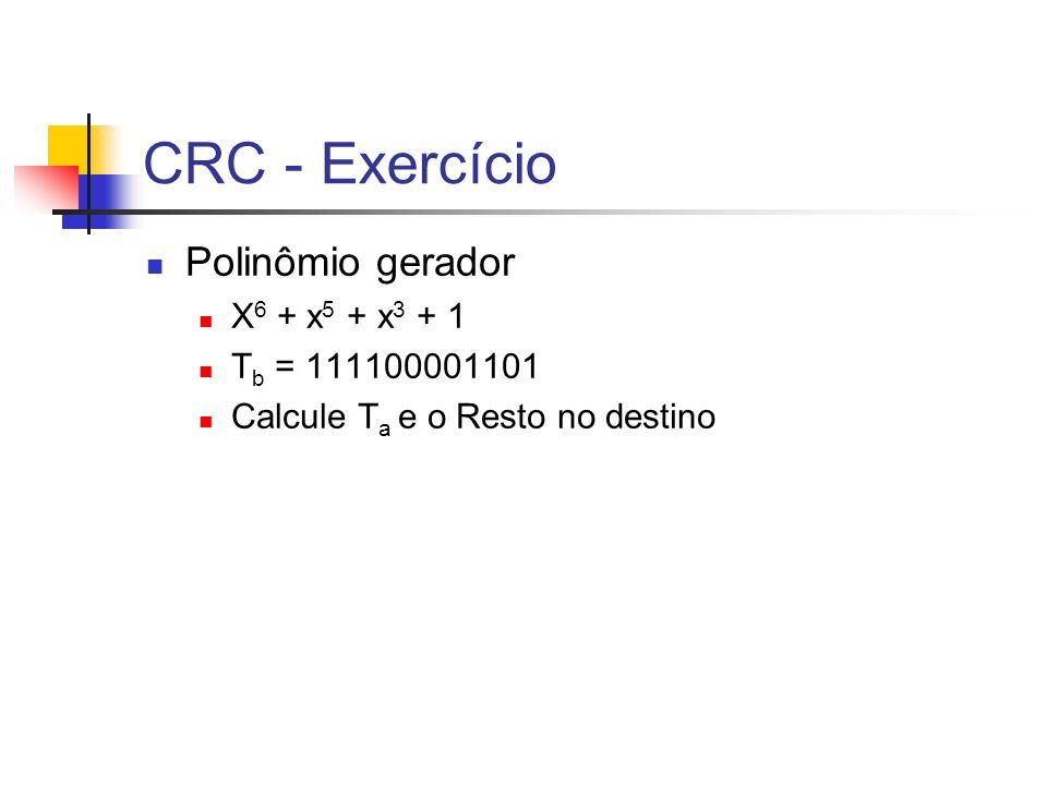 CRC - Exercício Polinômio gerador X 6 + x 5 + x 3 + 1 T b = 111100001101 Calcule T a e o Resto no destino
