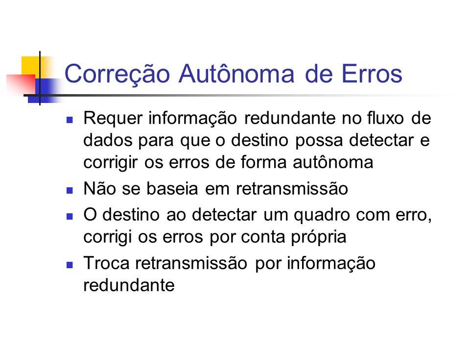 Correção Autônoma de Erros Requer informação redundante no fluxo de dados para que o destino possa detectar e corrigir os erros de forma autônoma Não