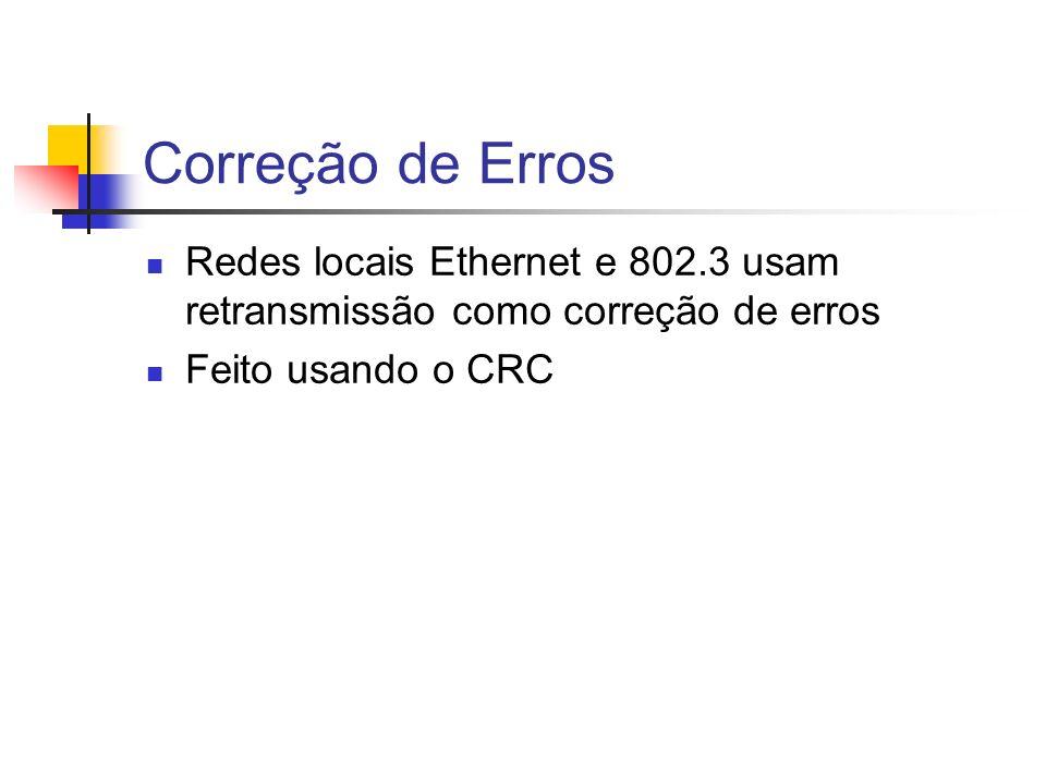 Correção de Erros Redes locais Ethernet e 802.3 usam retransmissão como correção de erros Feito usando o CRC