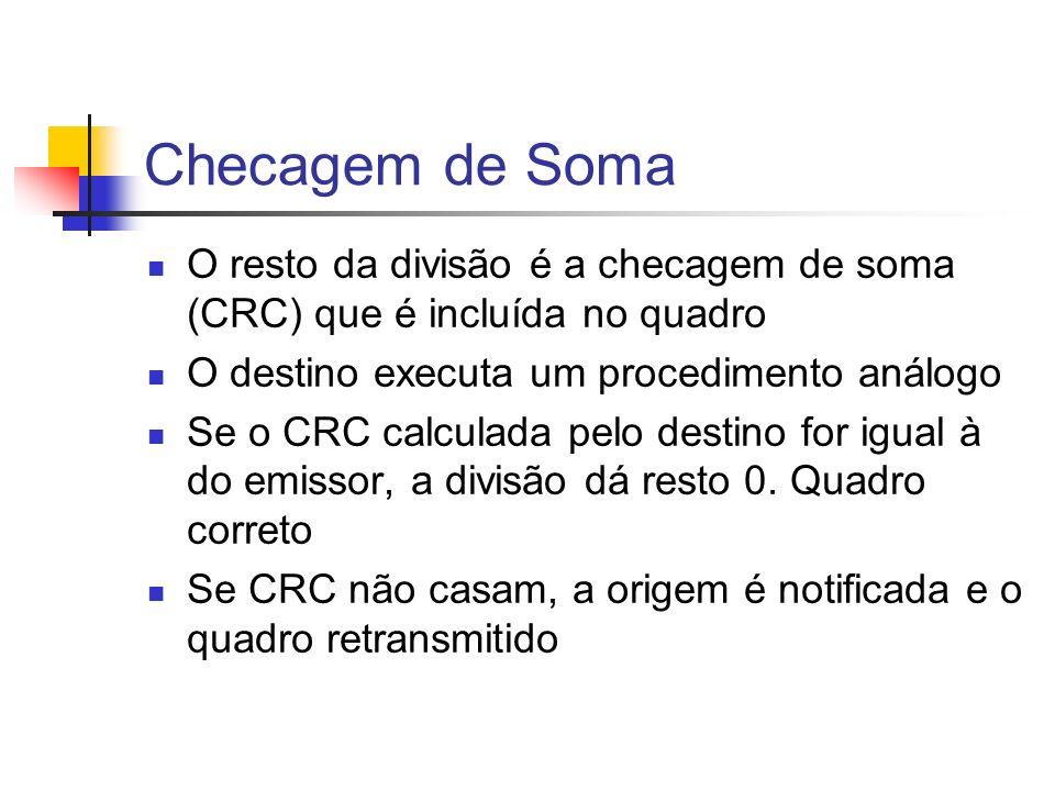 Checagem de Soma O resto da divisão é a checagem de soma (CRC) que é incluída no quadro O destino executa um procedimento análogo Se o CRC calculada p