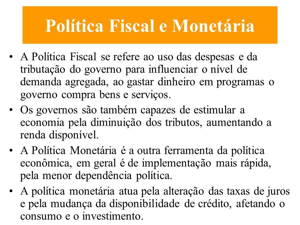 Política Fiscal e Monetária Keynes (A Teoria Geral do Emprego, dos Juros e da Moeda) argumentou que eram necessárias medidas para estimular a Economia, o governo devia intervir através de política monetária e fiscal expansionista.