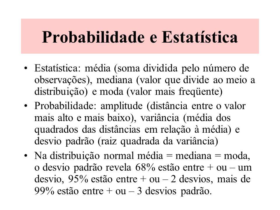 Probabilidade e Estatística Probabilidade é a chance de ocorrência de algo. A estatística descreve a distribuição das medidas e ajuda a esclarecer o i