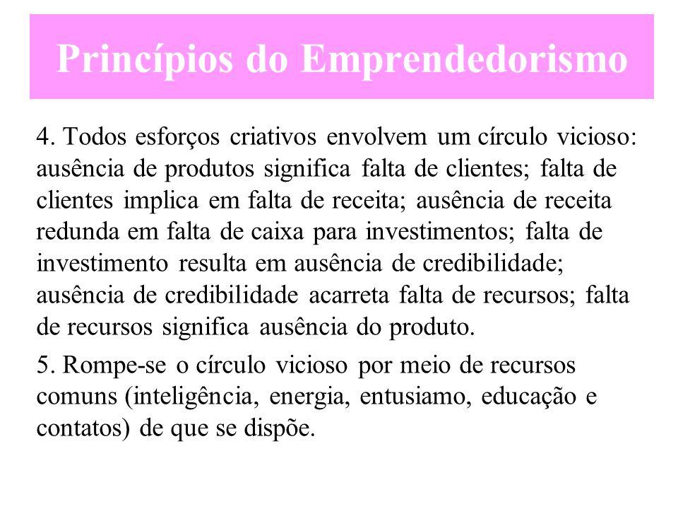 Princípios do Emprendedorismo 1.Raramente se deparam com oportunidades empreendedoras; é preciso as criar e as conquistar. 2.O medo de não aproveitar