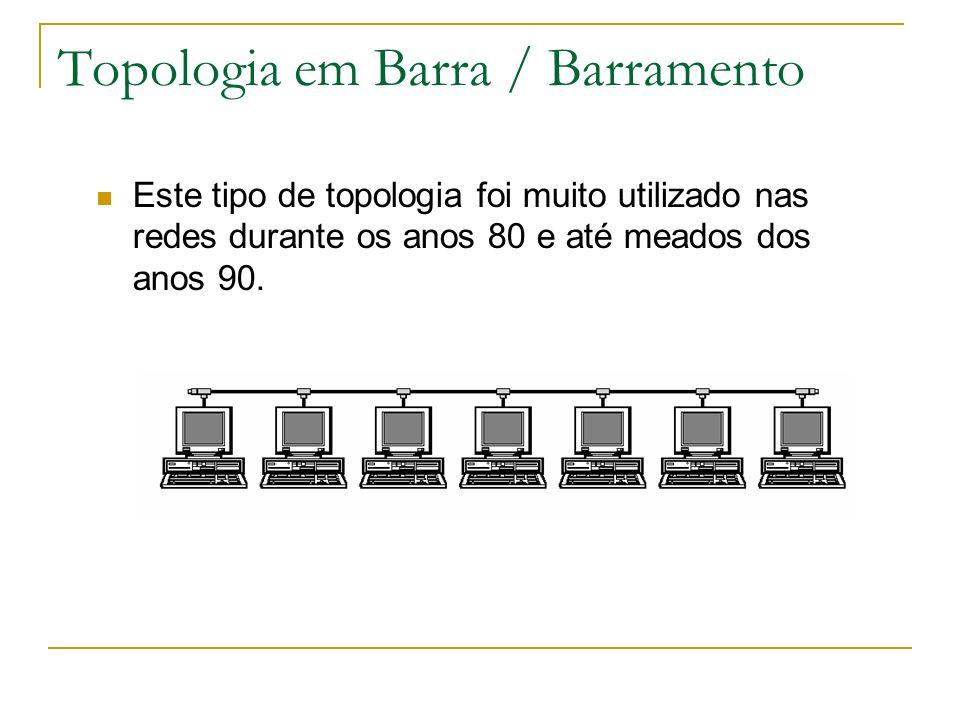 Topologia em Barra / Barramento Este tipo de topologia foi muito utilizado nas redes durante os anos 80 e até meados dos anos 90.