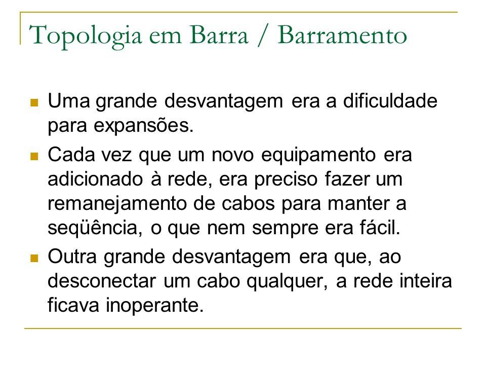 Topologia em Barra / Barramento Uma grande desvantagem era a dificuldade para expansões. Cada vez que um novo equipamento era adicionado à rede, era p