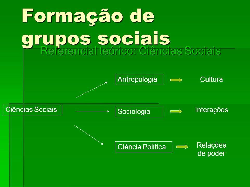 Formação de grupos sociais Referencial teórico: Ciências Sociais Ciências Sociais Antropologia Sociologia Ciência Política Cultura Interações Relações