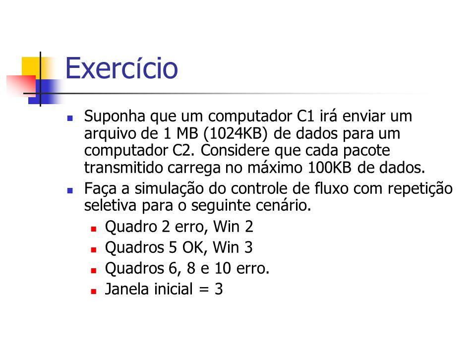 Exerc í cio Suponha que um computador C1 irá enviar um arquivo de 1 MB (1024KB) de dados para um computador C2. Considere que cada pacote transmitido