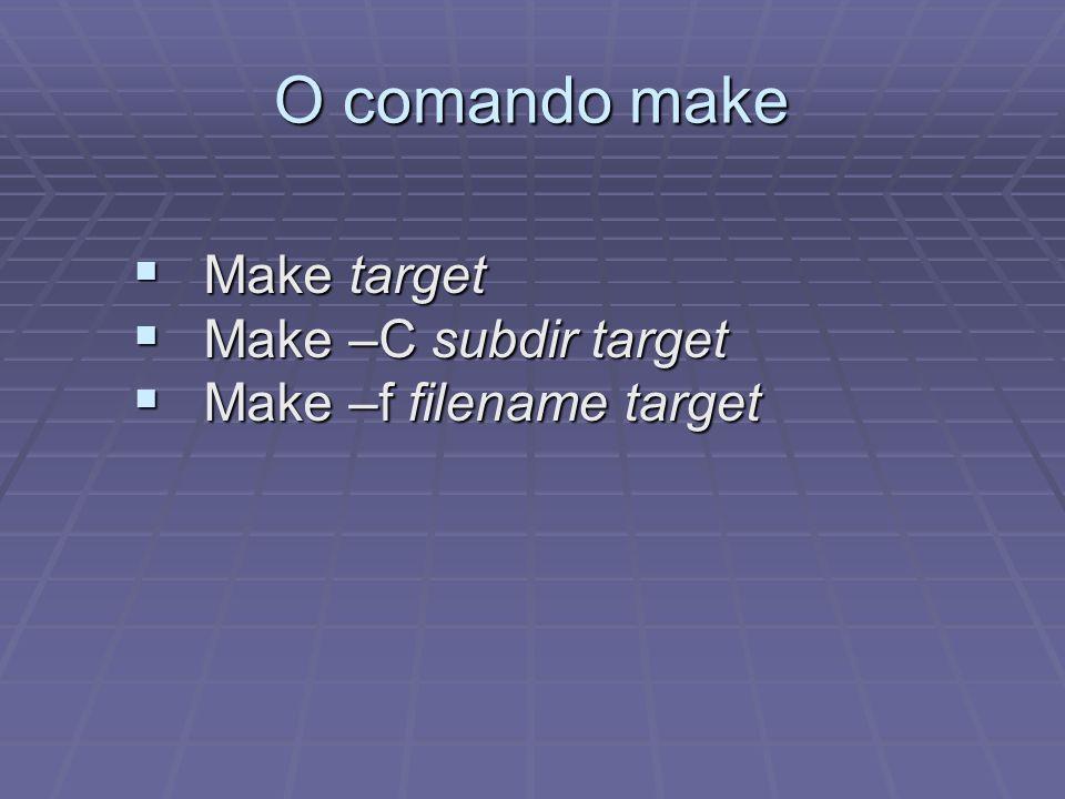 O comando make Make target Make target Make –C subdir target Make –C subdir target Make –f filename target Make –f filename target