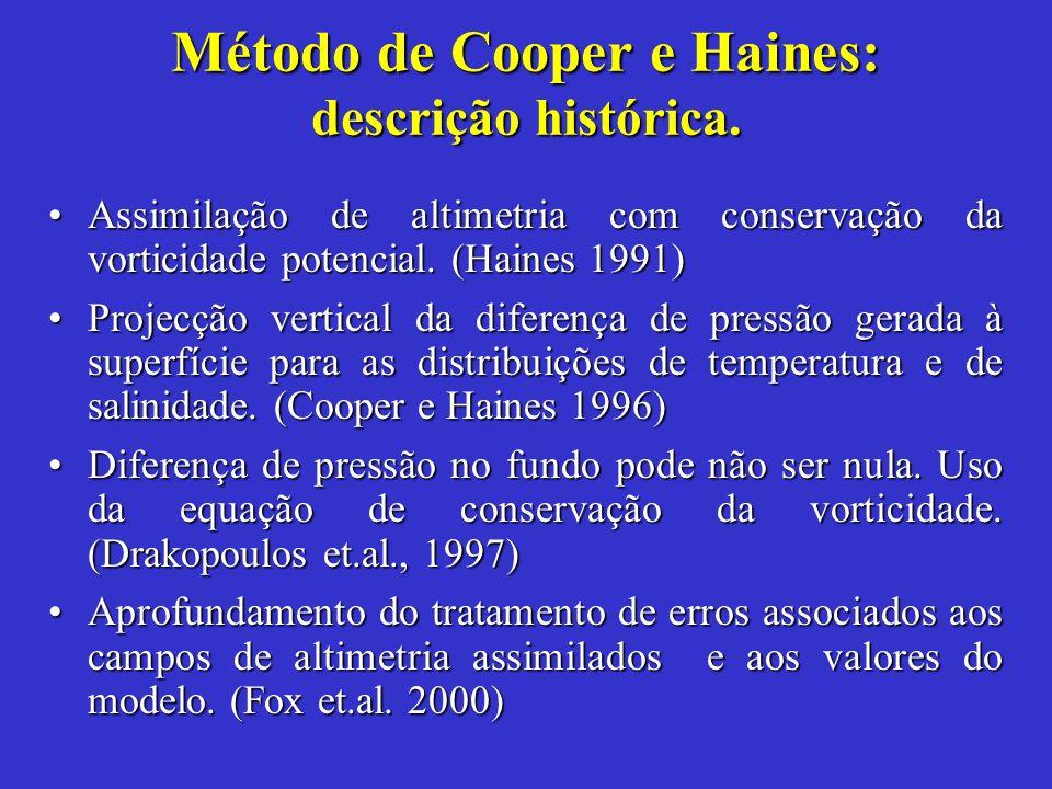 Assimilação de altimetria com conservação da vorticidade potencial. (Haines 1991)Assimilação de altimetria com conservação da vorticidade potencial. (