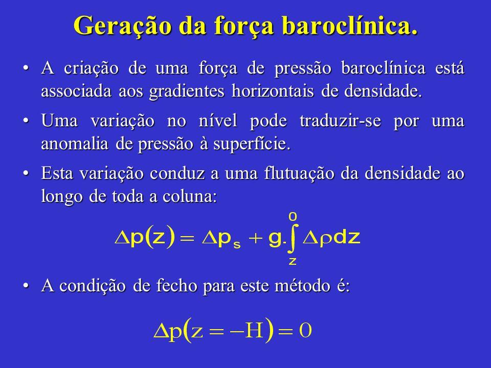 A criação de uma força de pressão baroclínica está associada aos gradientes horizontais de densidade.A criação de uma força de pressão baroclínica est
