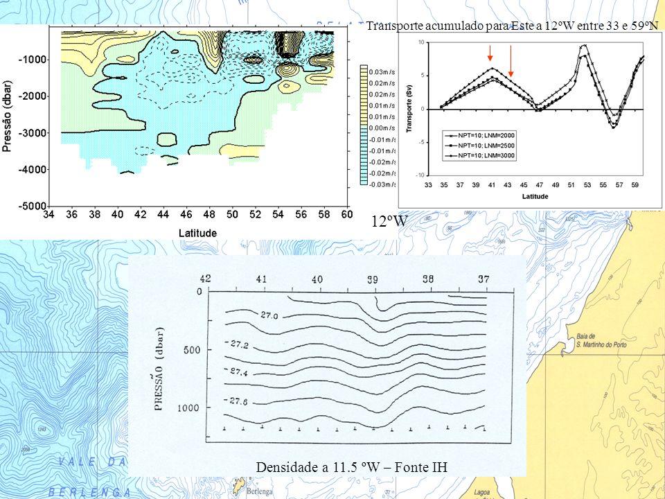 12ºW Transporte acumulado para Este a 12ºW entre 33 e 59ºN Densidade a 11.5 ºW – Fonte IH