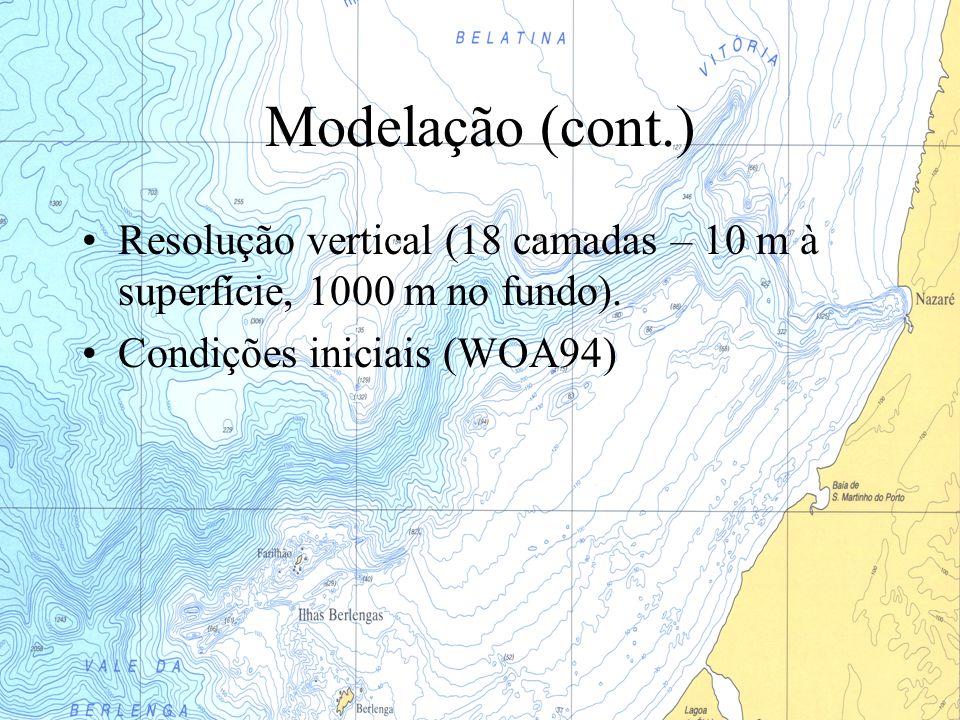 Modelação (cont.) Resolução vertical (18 camadas – 10 m à superfície, 1000 m no fundo). Condições iniciais (WOA94)