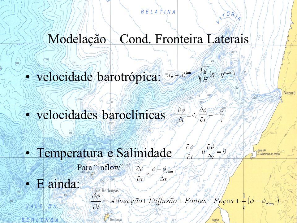 Modelação – Cond. Fronteira Laterais velocidade barotrópica: velocidades baroclínicas Temperatura e Salinidade –Para inflow E ainda: