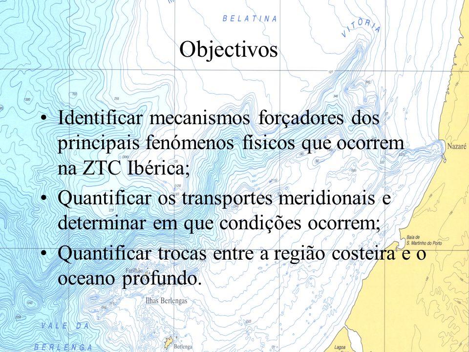 Objectivos Identificar mecanismos forçadores dos principais fenómenos físicos que ocorrem na ZTC Ibérica; Quantificar os transportes meridionais e det