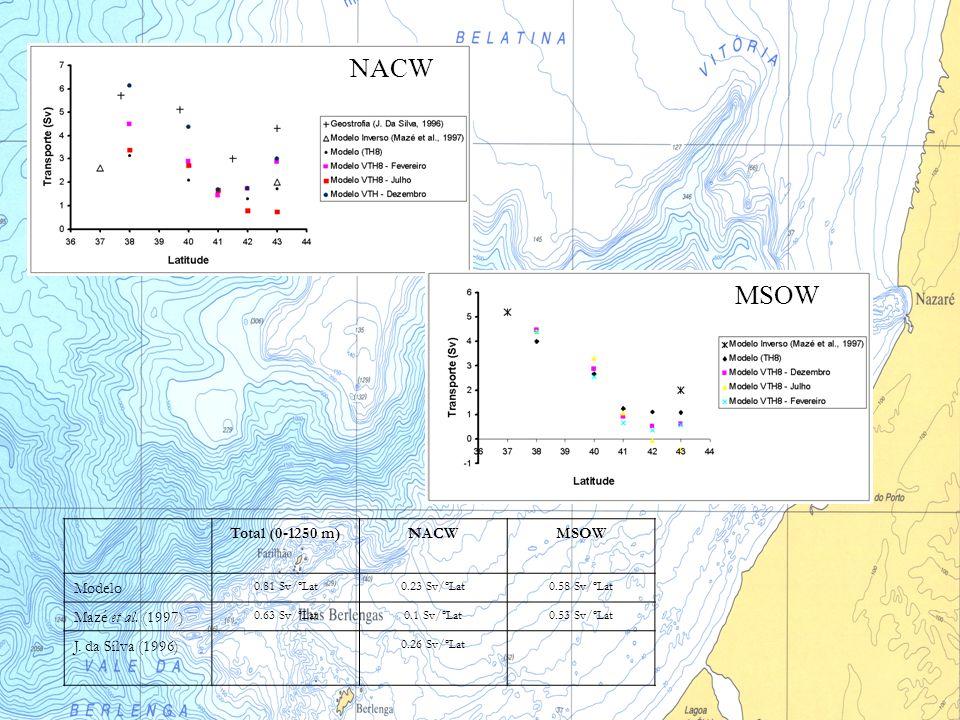 Total (0-1250 m)NACWMSOW Modelo 0.81 Sv/ºLat0.23 Sv/ºLat0.58 Sv/ºLat Mazé et al. (1997) 0.63 Sv/ºLat0.1 Sv/ºLat0.53 Sv/ºLat J. da Silva (1996) 0.26 Sv
