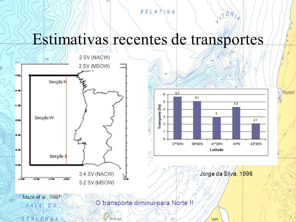 Estimativas recentes de transportes Jorge da Silva, 1996 3.4 SV (NACW) 5.2 SV (MSOW) 2 SV (NACW) 2 SV (MSOW) O transporte diminui para Norte !! Mazé e