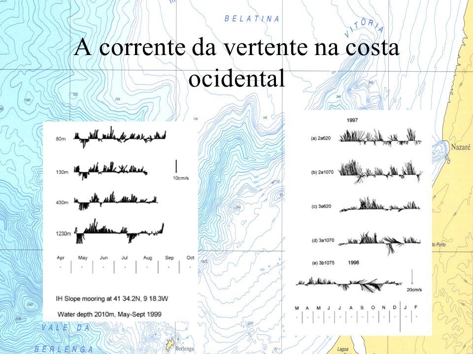 Modelação - Conclusões O modelo de 25 Km mostra transportes elevados a Sul que estão relacionados com a recirculação da Corrente dos Açores no Golfo de Cádiz A corrente da vertente aparece sempre à superfície durante todo o ano (pelo menos em 1994).