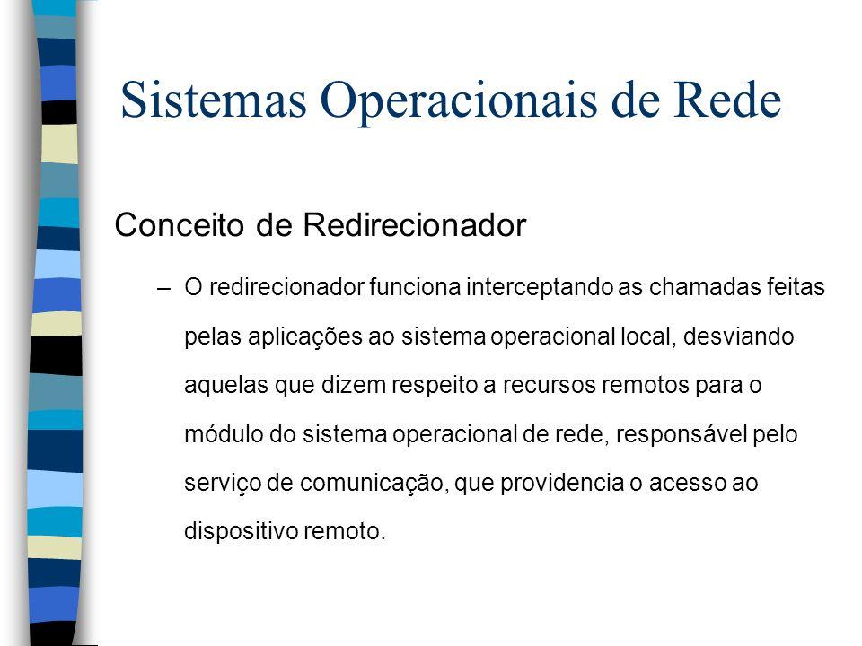 Conceito de Redirecionador –O redirecionador funciona interceptando as chamadas feitas pelas aplicações ao sistema operacional local, desviando aquela