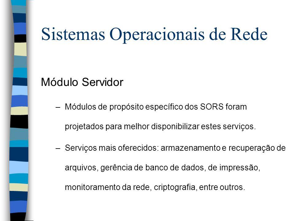 Módulo Servidor –Módulos de propósito específico dos SORS foram projetados para melhor disponibilizar estes serviços. –Serviços mais oferecidos: armaz