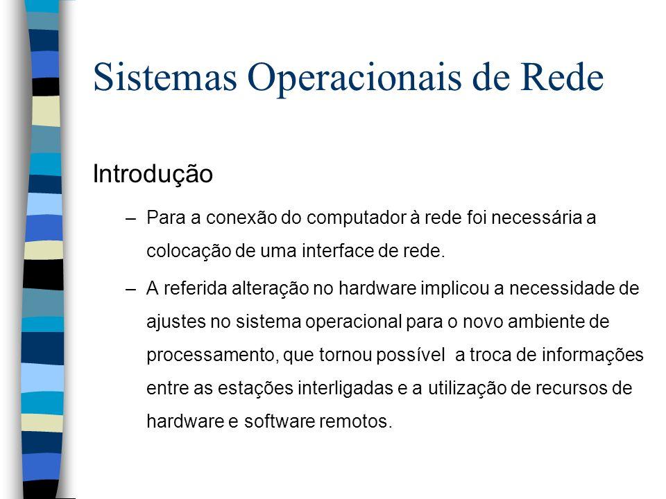 Introdução –Para a conexão do computador à rede foi necessária a colocação de uma interface de rede. –A referida alteração no hardware implicou a nece