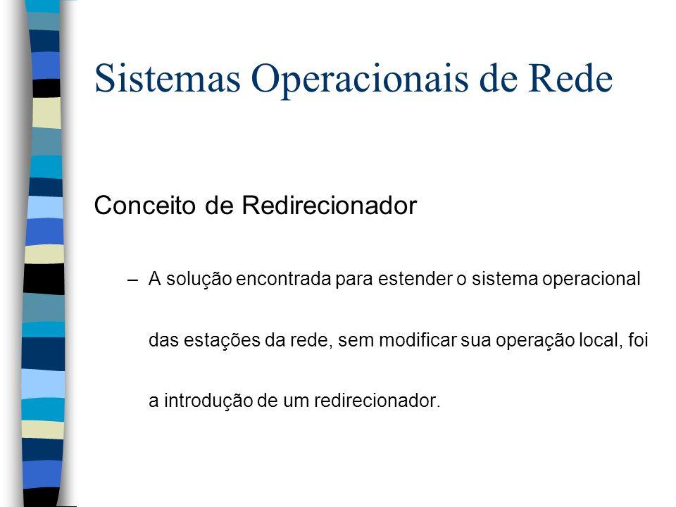 Conceito de Redirecionador –A solução encontrada para estender o sistema operacional das estações da rede, sem modificar sua operação local, foi a int