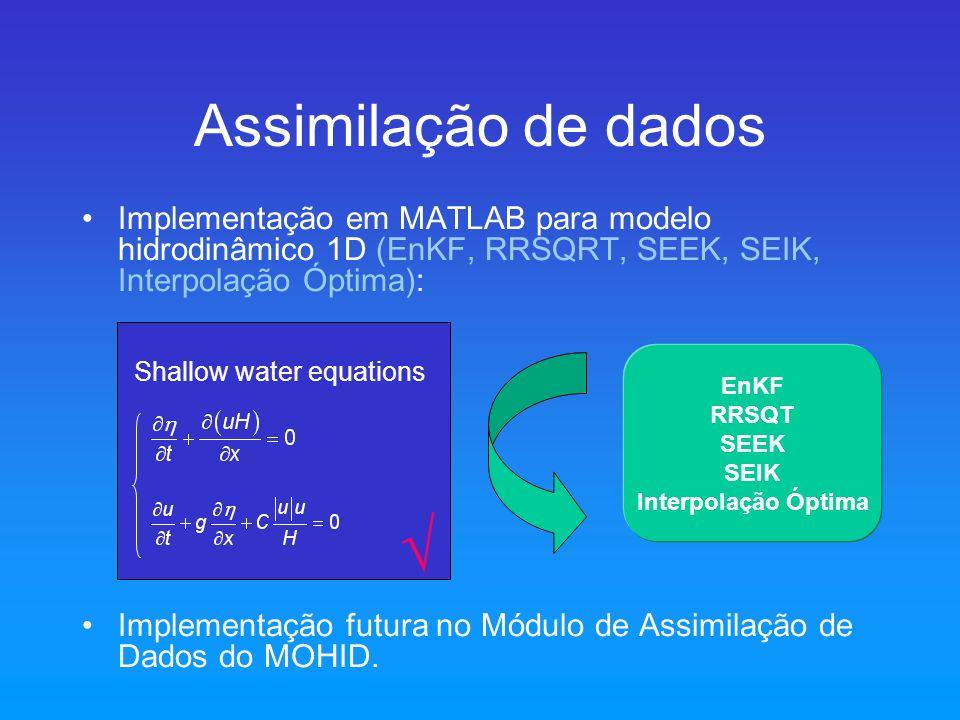 Assimilação de dados Implementação em MATLAB para modelo hidrodinâmico 1D (EnKF, RRSQRT, SEEK, SEIK, Interpolação Óptima): Implementação futura no Mód