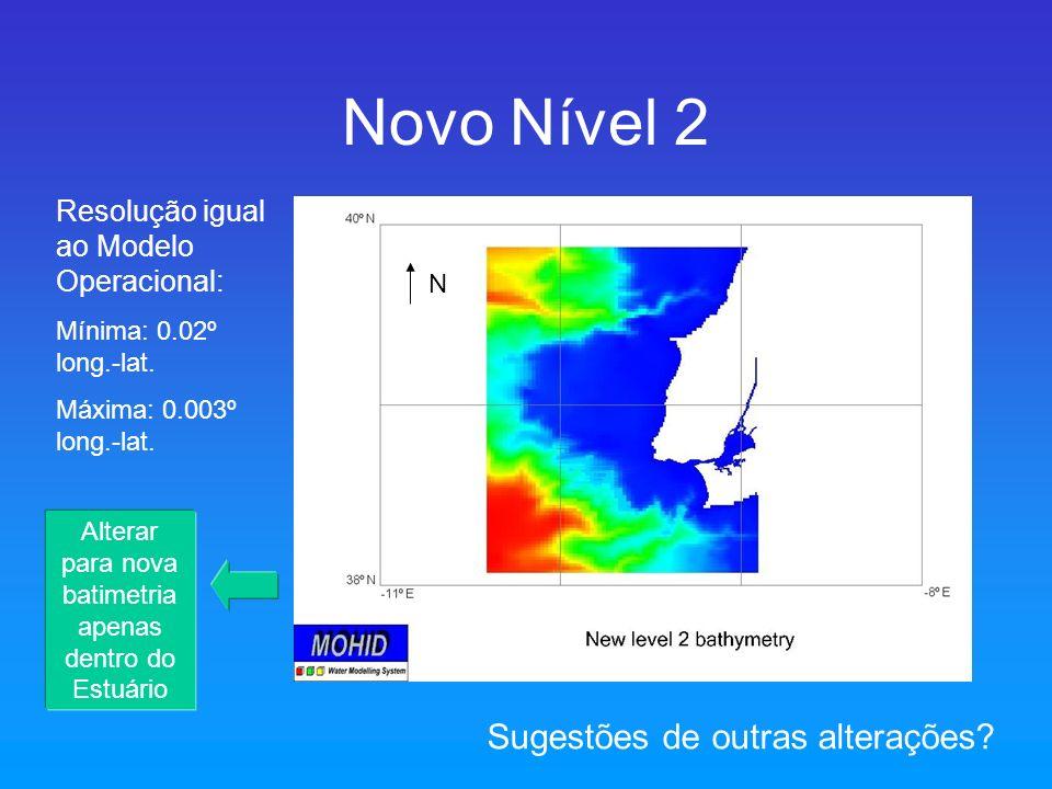 Novo Nível 2 N Resolução igual ao Modelo Operacional: Mínima: 0.02º long.-lat. Máxima: 0.003º long.-lat. Sugestões de outras alterações? Alterar para