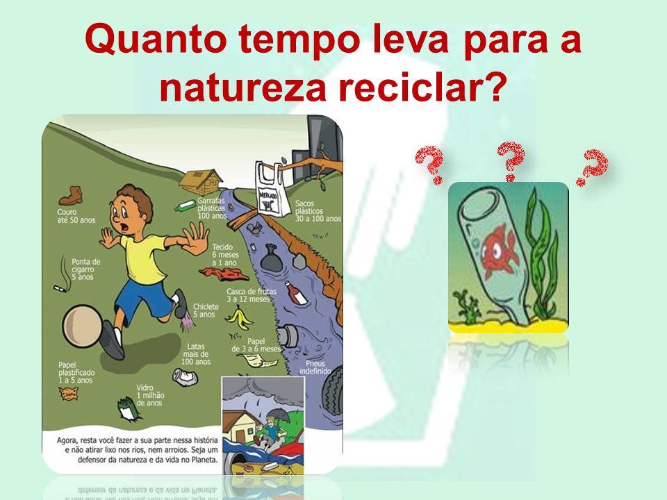 Quanto tempo leva para a natureza reciclar?